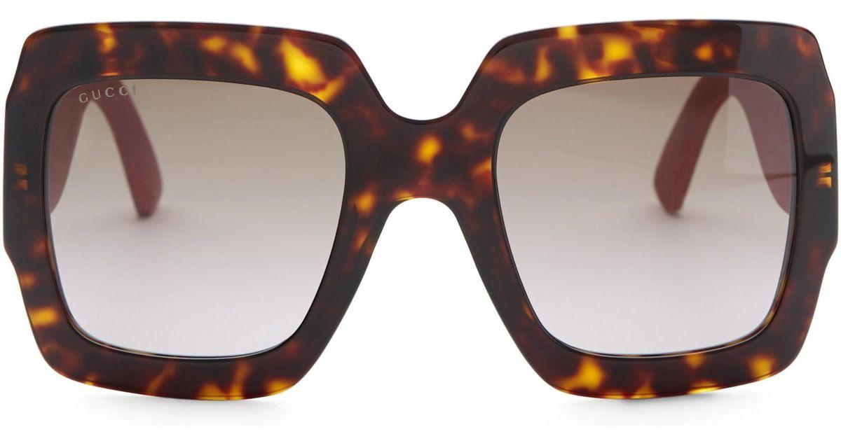 30027f0a22 Gucci 54mm Glitter-detail Square Sunglasses - Save 52% - Lyst