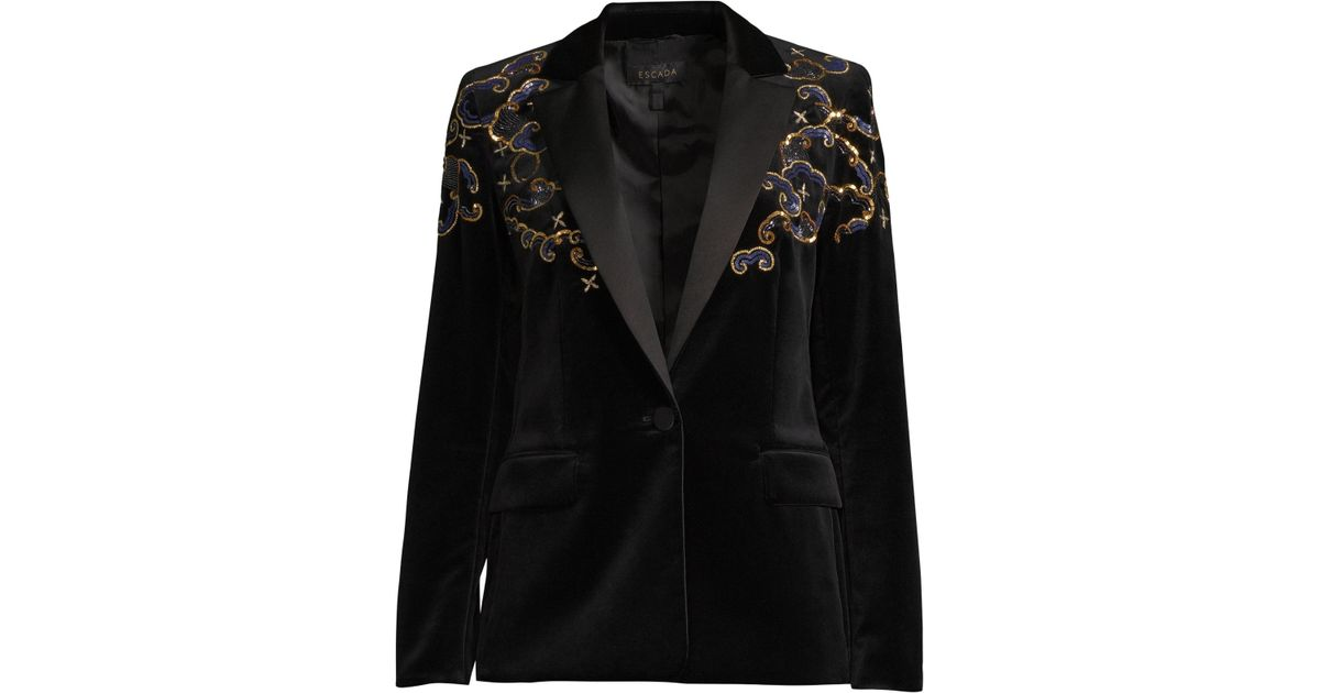 b73758e0853 ESCADA Women's Begasab Velvet Embroidered Tuxedo Jacket - Black in Black -  Lyst