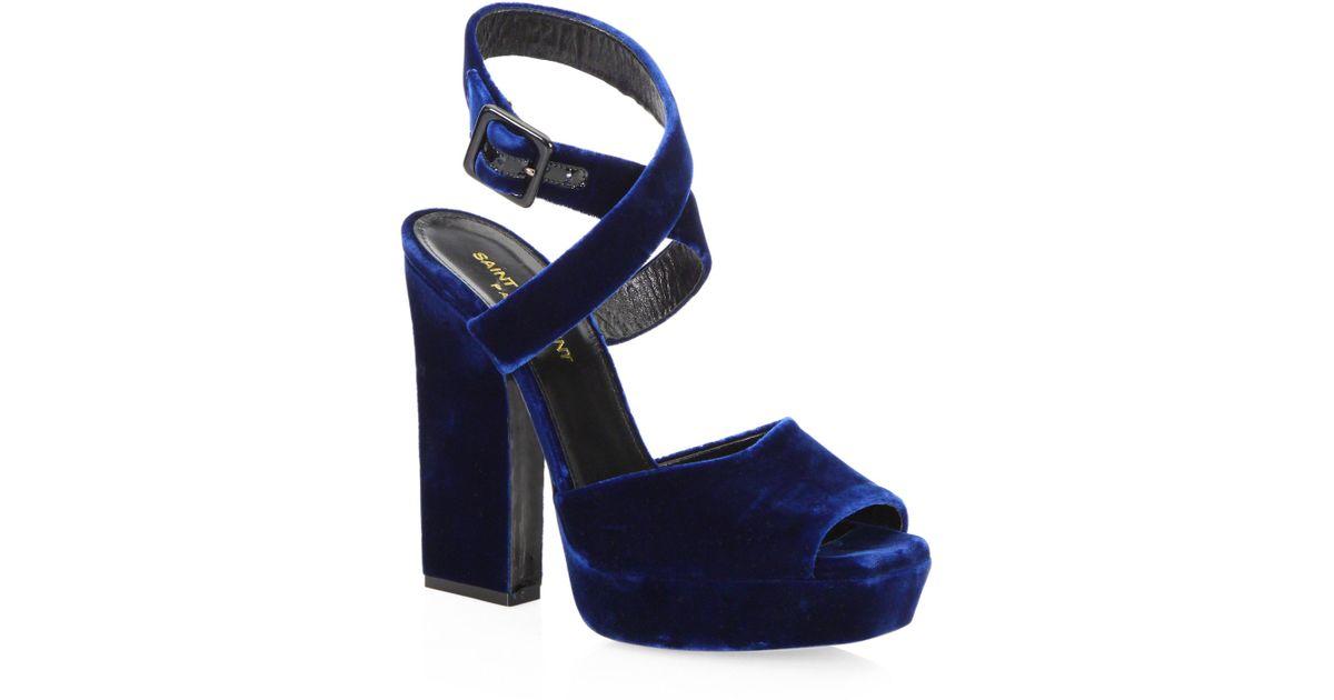 b13b1b2665e Saint Laurent Debbie Velvet Platform Sandals in Blue - Lyst