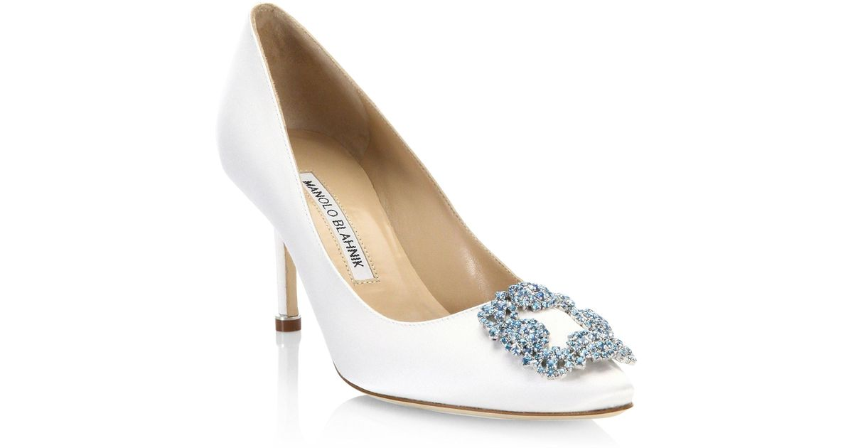 cd4a14be47 ... cheap lyst manolo blahnik hangisi 70 point toe pumps in white 58605  8777d