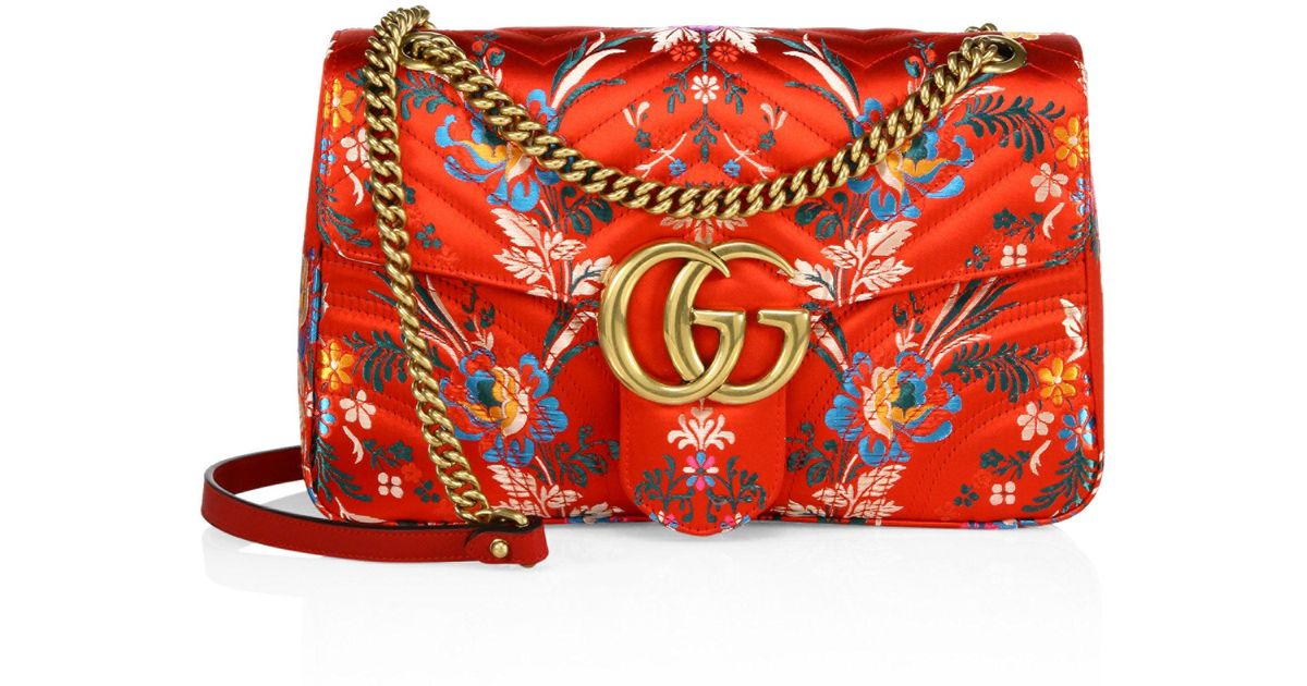 922c8258f5b91f Gucci Small Gg Marmont Matelasse Floral Jacquard Chain Shoulder Bag in Red  - Lyst