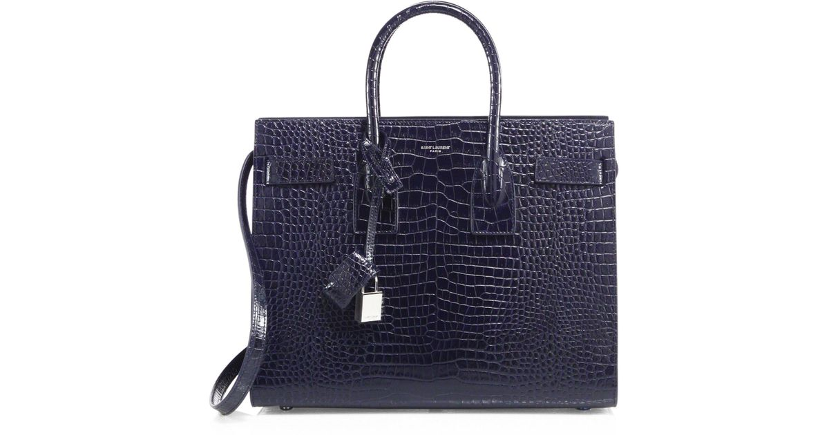 aa987d5314e0 Saint Laurent Small Sac De Jour Croc-embossed Leather Tote in Blue - Lyst