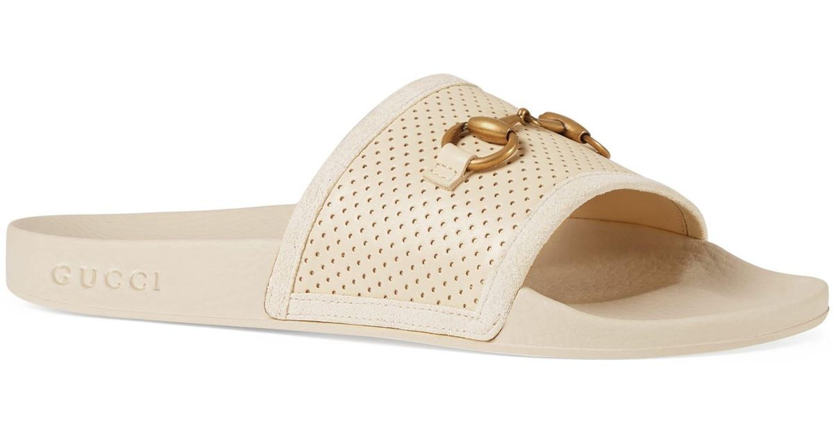 2bb97e79b25 Lyst - Gucci Women s Pursuit Horsebit Leather Slides - Black - Size 37 (7)  Sandals in White