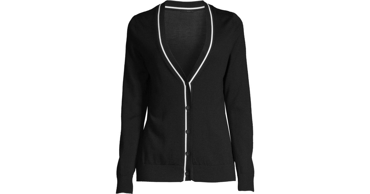 12e3e3f8af8 Elie Tahari Women s Luella Merino Wool Cardigan Sweater - Black White - Size  Xs in Black - Lyst
