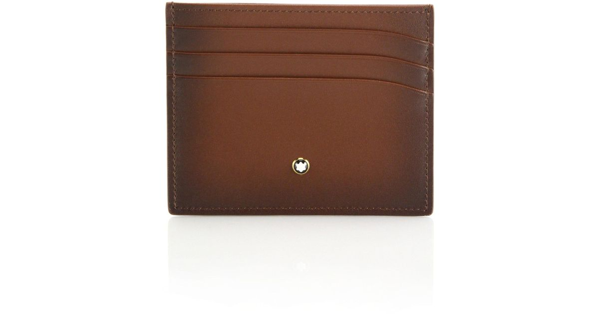 lyst montblanc italian leather credit card holder in brown for men - Leather Credit Card Holder