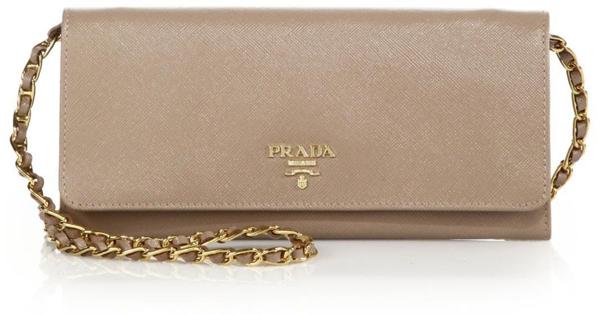 14b663ad9a19 ... spain lyst prada saffiano metal oro chain wallet in natural a0af8 33454
