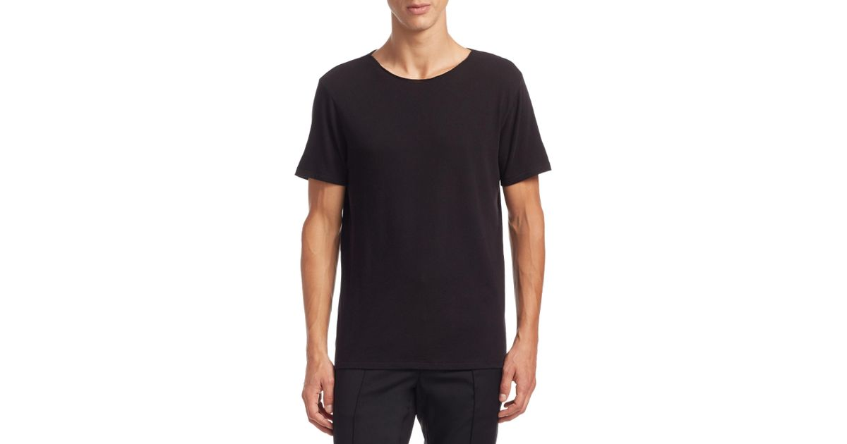Lyst vince raw edge cotton tee in black for men for Vince tee shirts sale