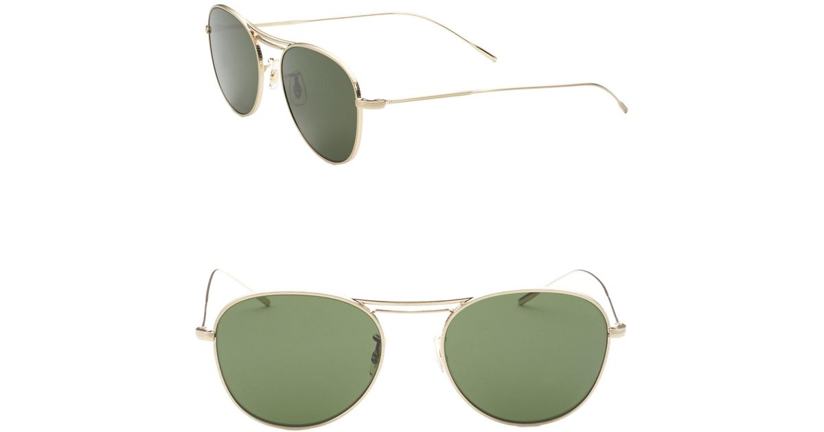 fdf6f3498e9 Lyst - Oliver Peoples Cade 52mm Aviator Sunglasses in Green for Men