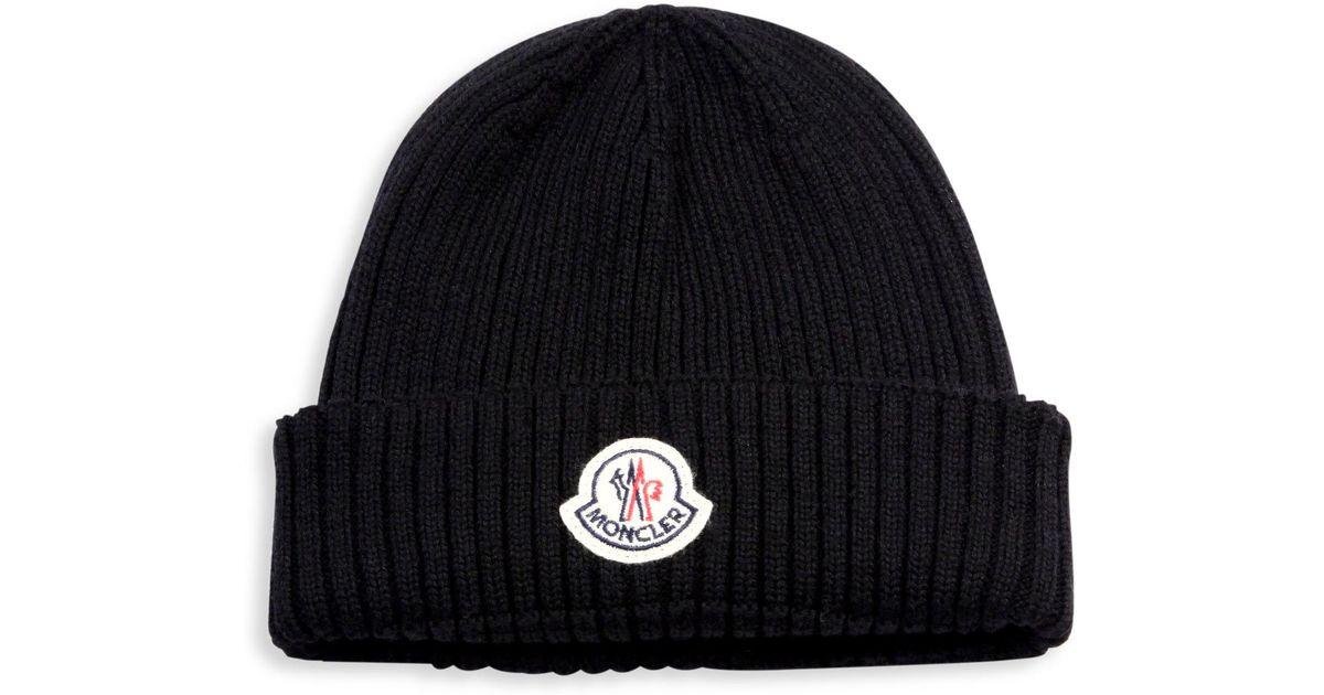 a01867e235ed6 Lyst - Moncler Ribbed Virgin Wool Beanie in Black for Men