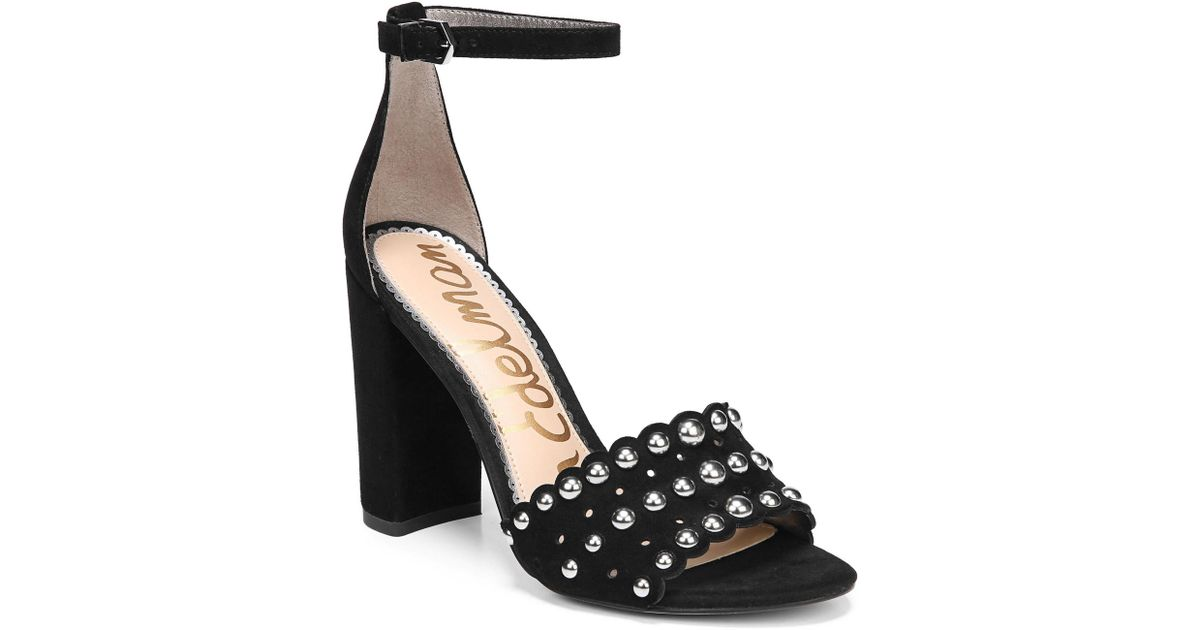 ee0859d17 Lyst - Sam Edelman Yaria Studded Block Heel Sandal in Black - Save 39%
