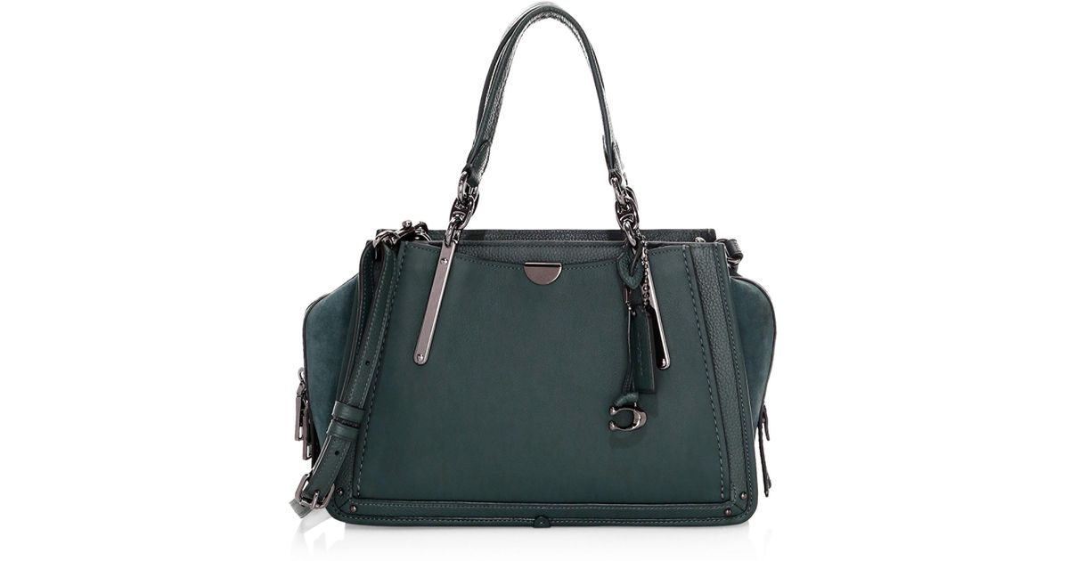 Lyst - COACH Dreamer Mixed Leather Top Handle Bag in Green 98d3197617ca1