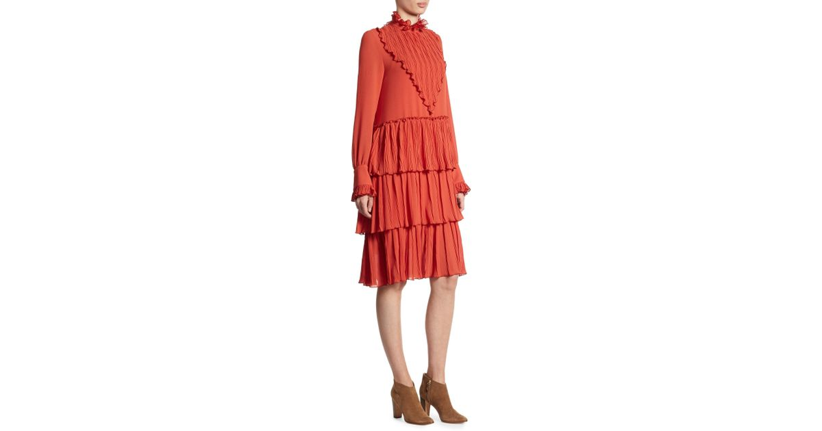 82dd284782 Lyst - See By Chloé See By Chloé Woman Tiered Ruffled Chiffon Dress Brick  in Red - Save 58%