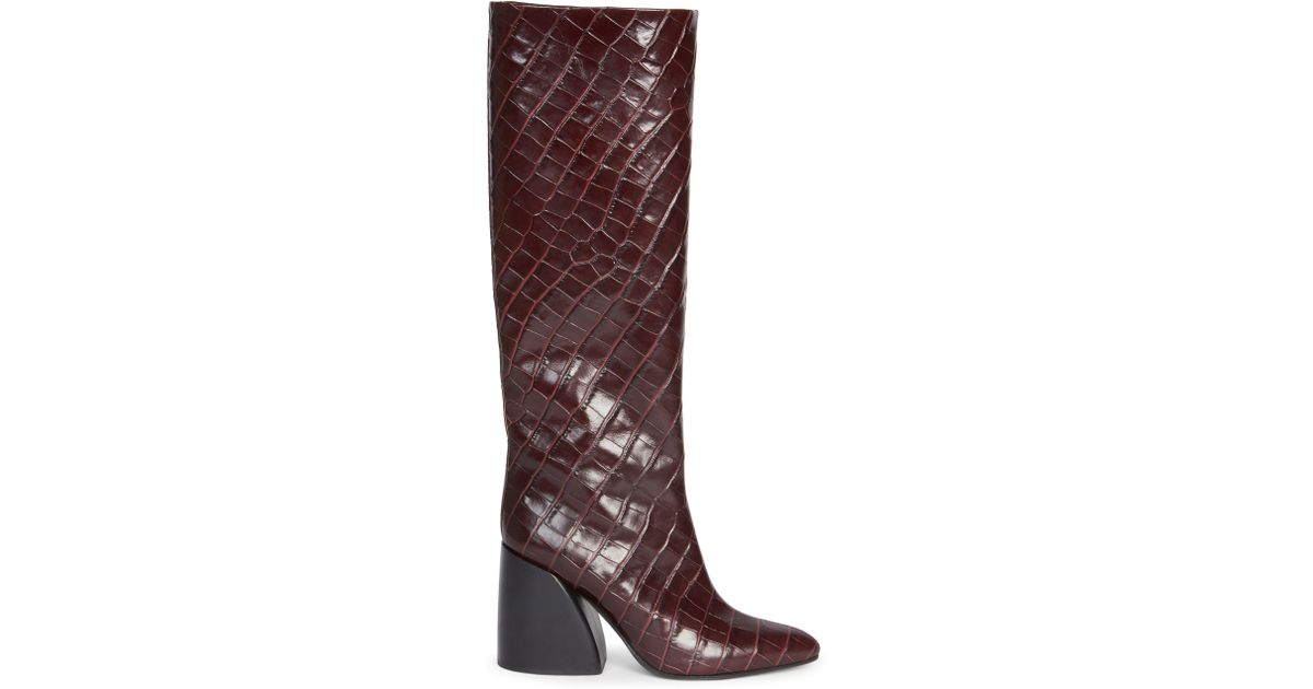d4179a6daff Chloé - Purple Women's Wave Croc-embossed Leather Block Heel Tall Boots -  Black - Size 36.5 (6.5) - Lyst
