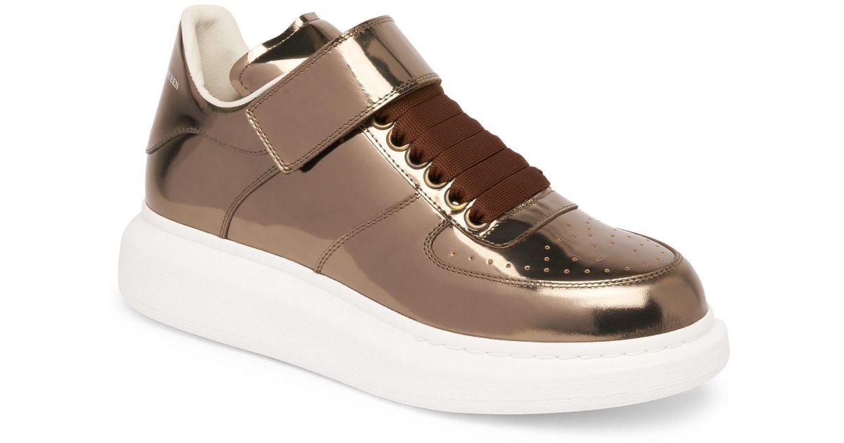 c75aef2edf Alexander McQueen Men's Ankle Strap Leather Platform Sneakers - Bronze -  Size 43 (10) in Brown for Men - Lyst