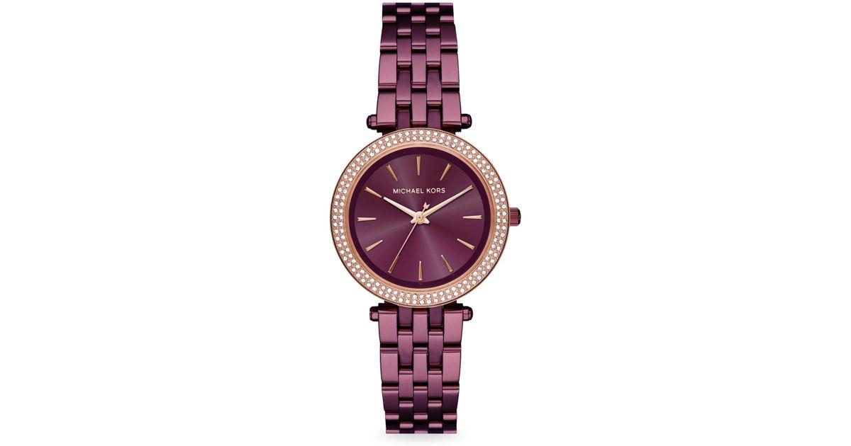 dedf6706c3ea Lyst - Michael Kors Darci Mk3725 Stainless-steel Japanese Quartz Fashion  Watch in Purple