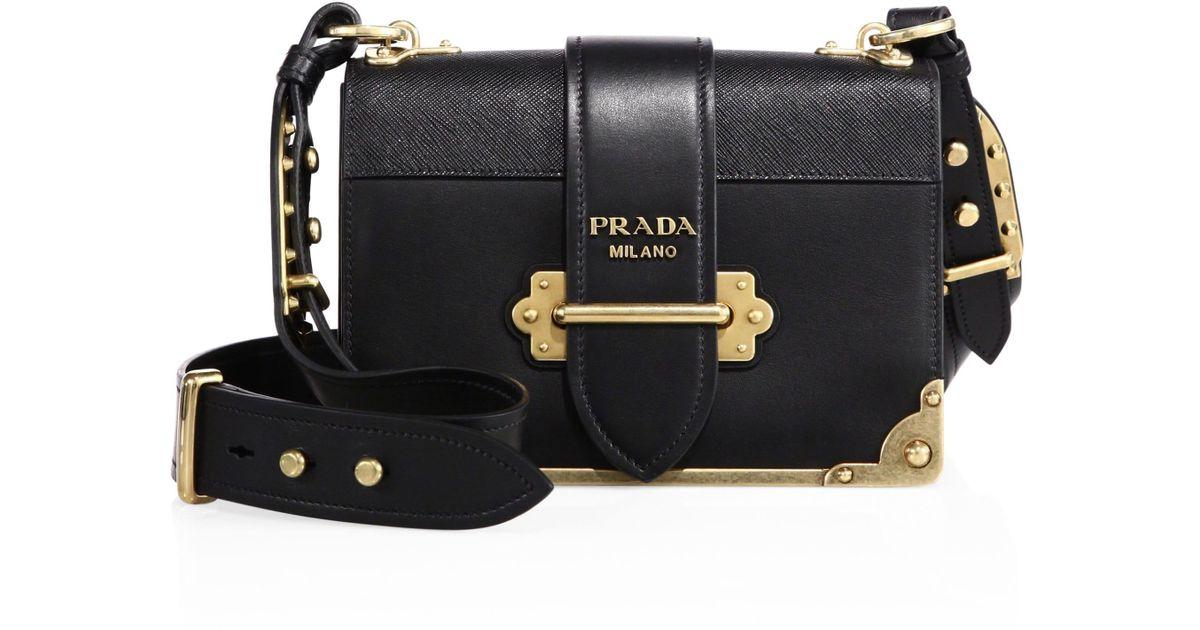 b07435c14a Lyst - Prada Cahier Notebook Leather Shoulder Bag in Black