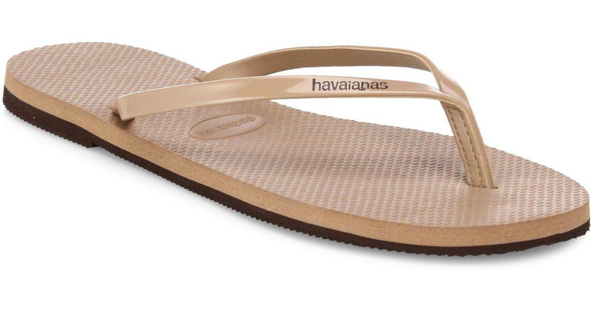 fcc5b5e12364 Lyst - Havaianas Slim Metallic Flip Flops in Pink for Men