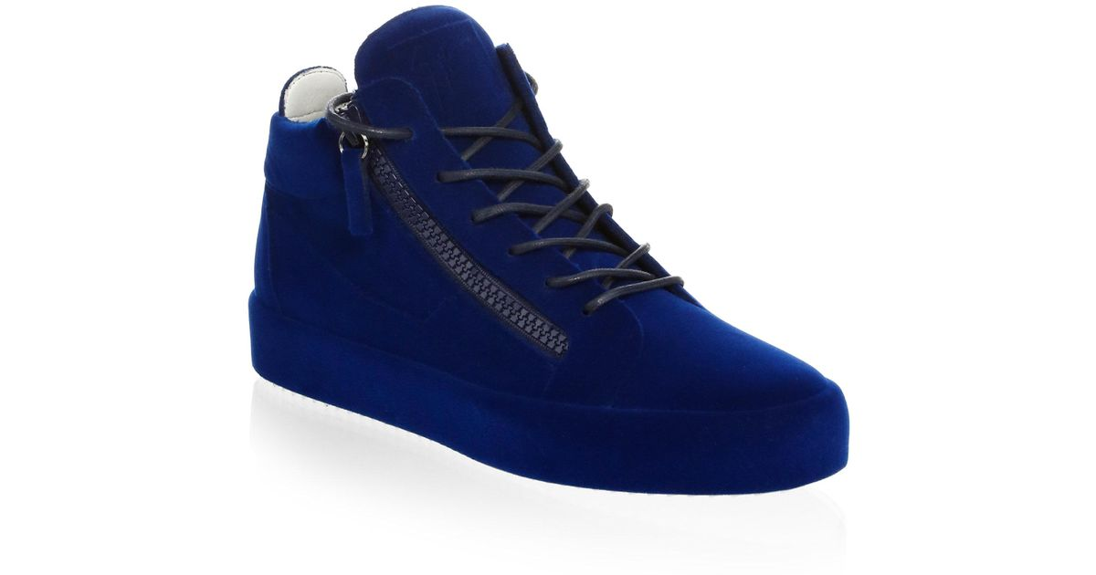 18b96bdb65deb Giuseppe Zanotti Velvet Spray High-top Sneakers in Blue for Men - Save 1% -  Lyst
