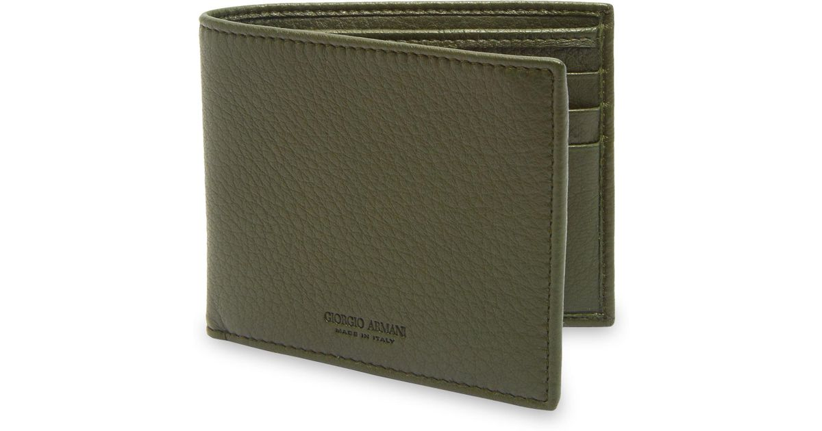 c3807566e6 Emporio Armani - Green Grained Leather Wallet for Men - Lyst