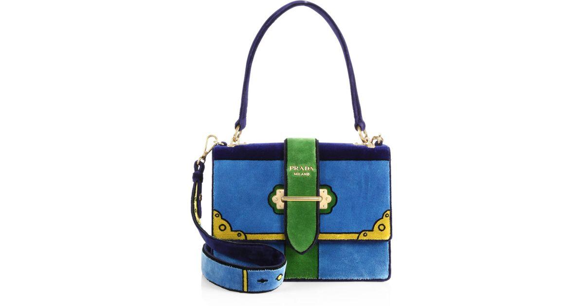 b011779701ef Prada Cahier Colorblock Velvet Handbag in Blue - Lyst