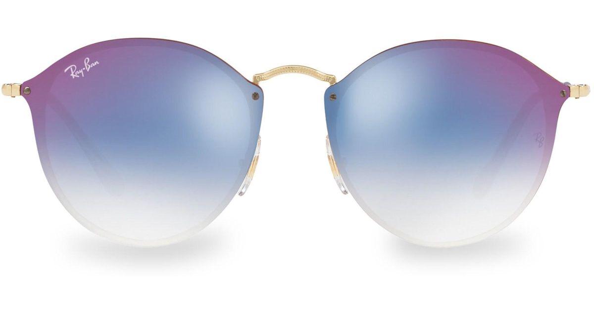 92fe3ecc99c Ray-Ban Women s 59mm Blaze Round Rimless Sunglasses - Gold in Metallic -  Lyst