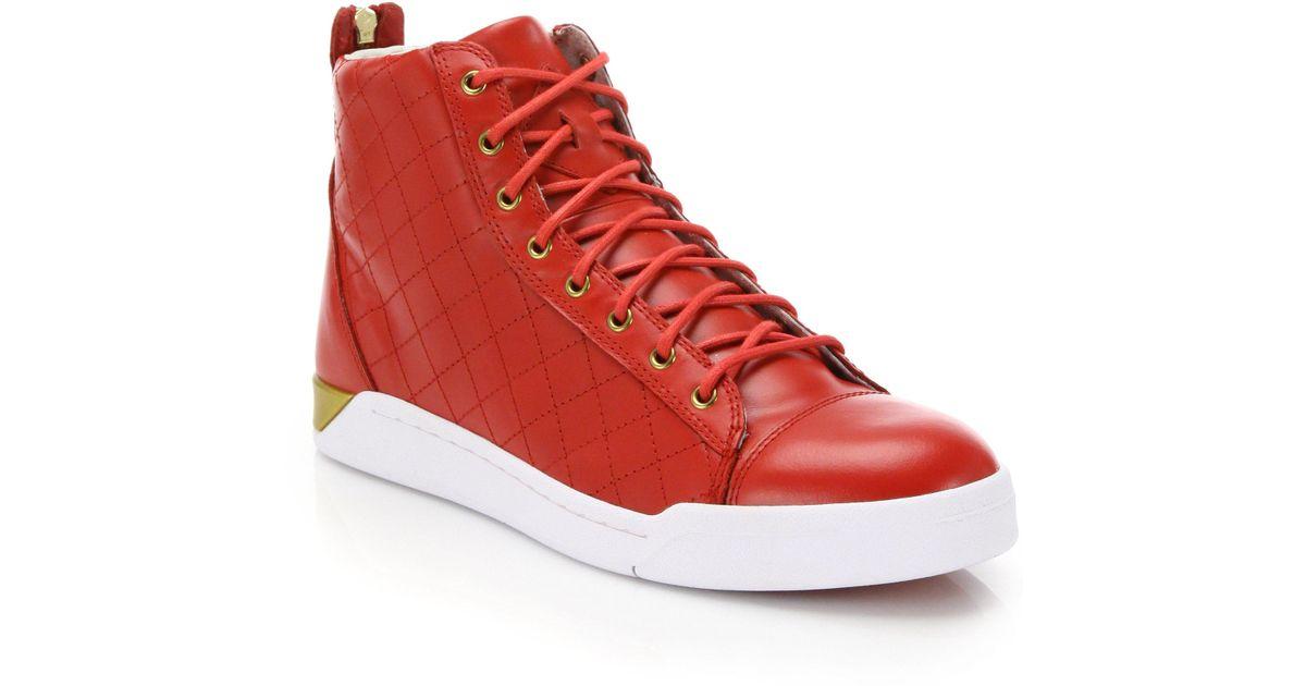 f5d912874b Lyst - DIESEL Tempus Diamond Leather High-top Sneakers in Red