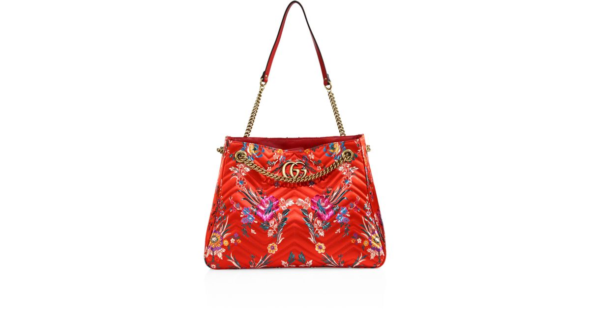 130a20656469 Gucci Medium GG Marmont Matelassé Floral Jacquard Chain Shoulder Bag in Red  - Lyst