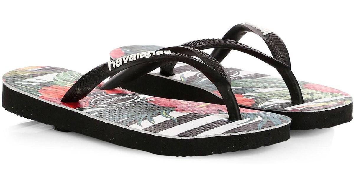 6994d3f77bab Lyst - Havaianas Kid s Slim Tropical Floral Slide Sandals in Black for Men