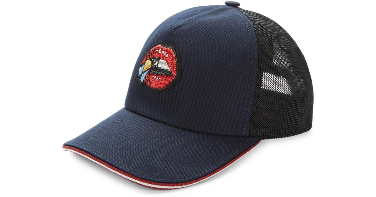 Bally Embroidered Mesh Back Cap in Blue for Men - Lyst 04e77ce98c76