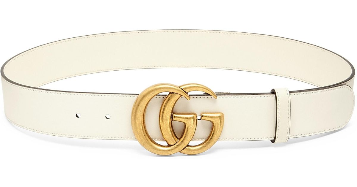 6c80fc159 Lyst - Gucci Women's Leather Belt With Double G Buckle - Mystic White -  Size 80cm (size 4) in White