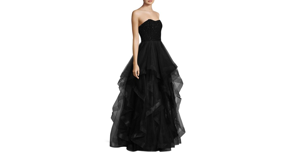 Lyst - Basix Black Label Strapless Beaded Gown in Black - Save ...