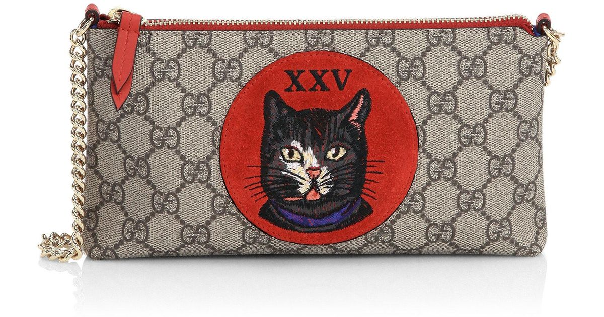 b3e5800769be66 Gucci Gg Supreme Mystic Cat Wrist Wallet - Lyst