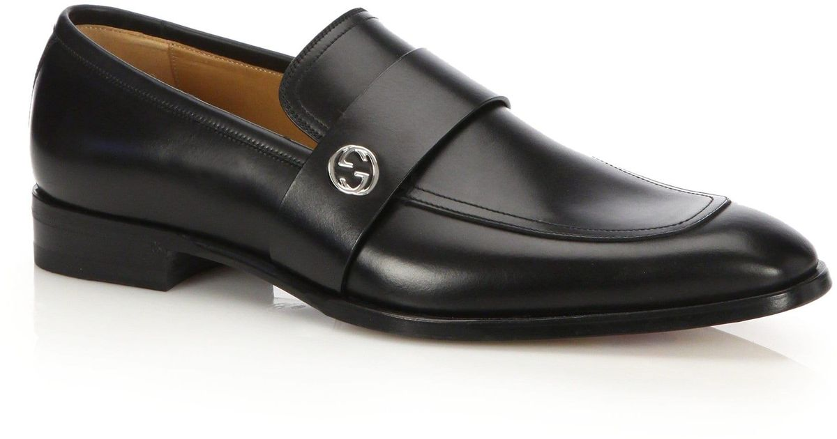 99f4143460e ... Gucci Leather Loafers in Black for Men Lyst