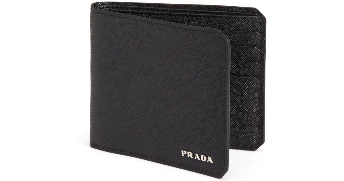 901db226e9d4e6 ... canada lyst prada saffiano leather bifold wallet in gray for men 4e490  01cab