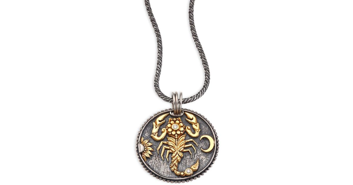 Lyst konstantino zodiac diamond 18k yellow gold sterling silver lyst konstantino zodiac diamond 18k yellow gold sterling silver scorpio pendant in metallic mozeypictures Image collections