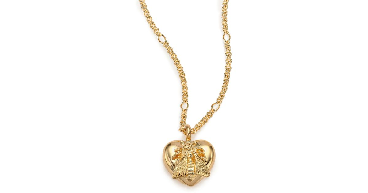 Lyst gucci 18k yellow gold bee heart pendant necklace in metallic aloadofball