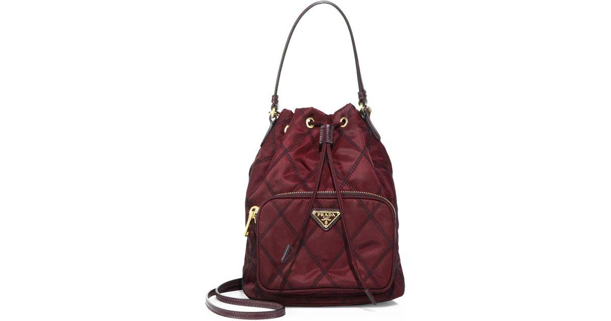 53ca5da61d81 Prada Tessuto Impunturato Quilted Bucket Bag - Lyst