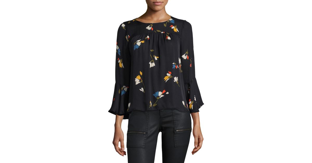 c0ff0ef5ca8dc Lyst - Joie Awilda Retro Print Ruffled Sleeve Blouse in Black