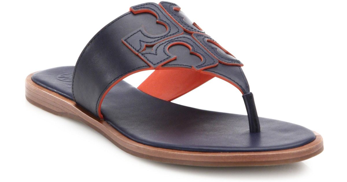 9396a851156 Lyst - Tory Burch Jamie Leather Logo Thong Sandals in Blue