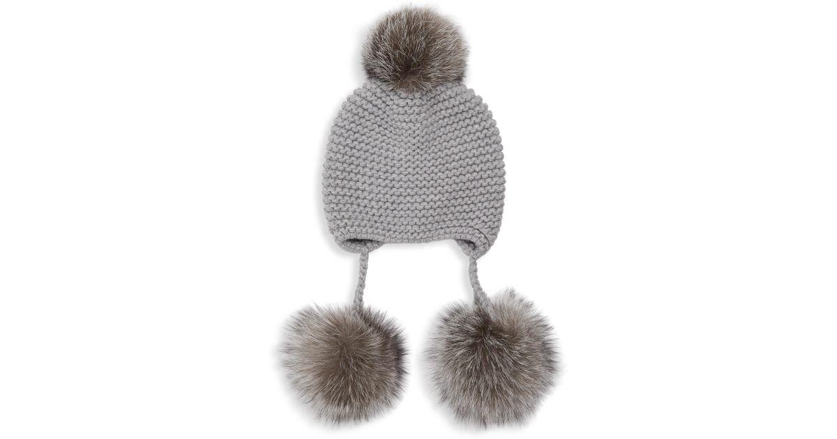 21888c03f7c Inverni Monnalisa Double Triple Fox Fur Pom Pom Cashmere Hat in Gray - Lyst