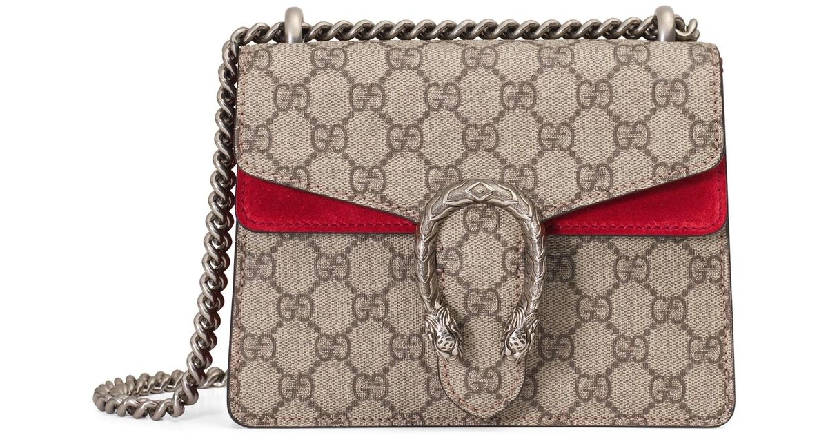 e32e03209b7 Lyst - Gucci Dionysus GG Supreme Mini Bag in Red