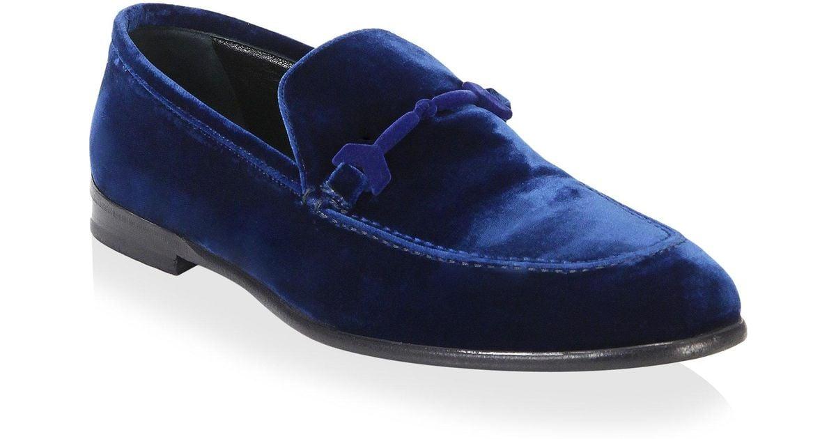 65b669a67d8 Lyst - Jimmy Choo Marti Velvet Loafers in Blue for Men