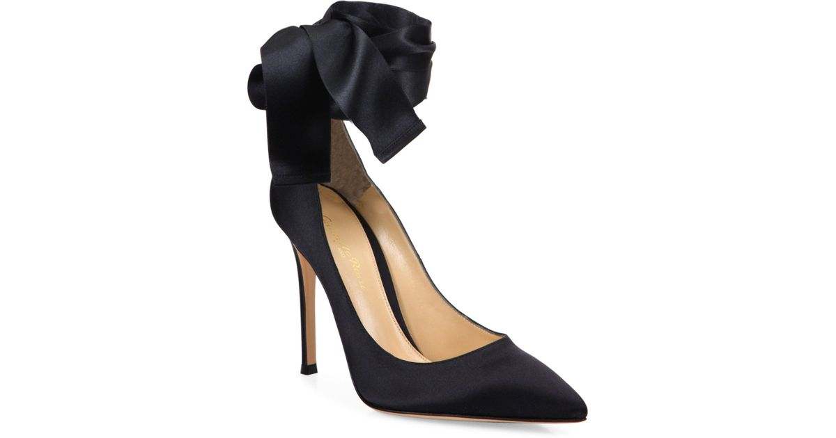 fcf39220d Gianvito Rossi Gala Satin Ankle-wrap Point Toe Pumps in Black - Lyst