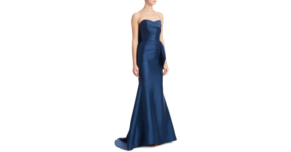 Lyst - Badgley Mischka Mikado Strapless Flared Gown in Blue