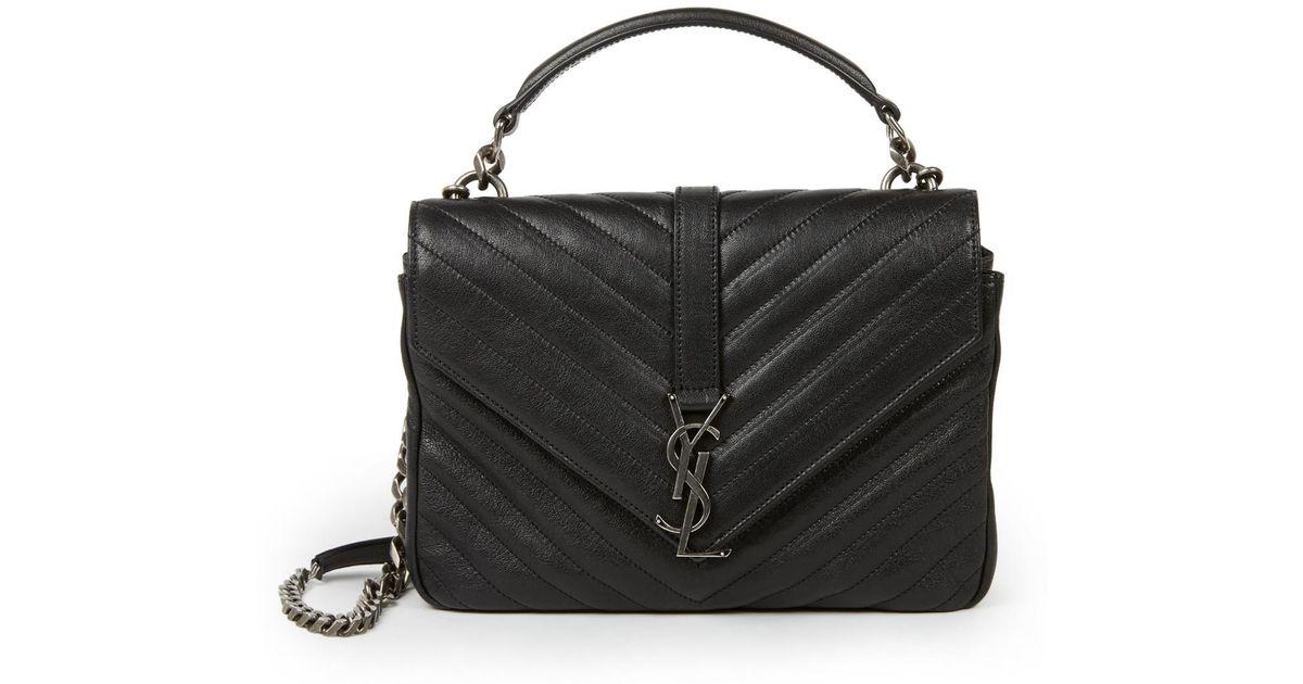 4dcf9d3e8be0 Lyst - Saint Laurent Medium College Monogram Matelasse Leather Shoulder Bag  in Black