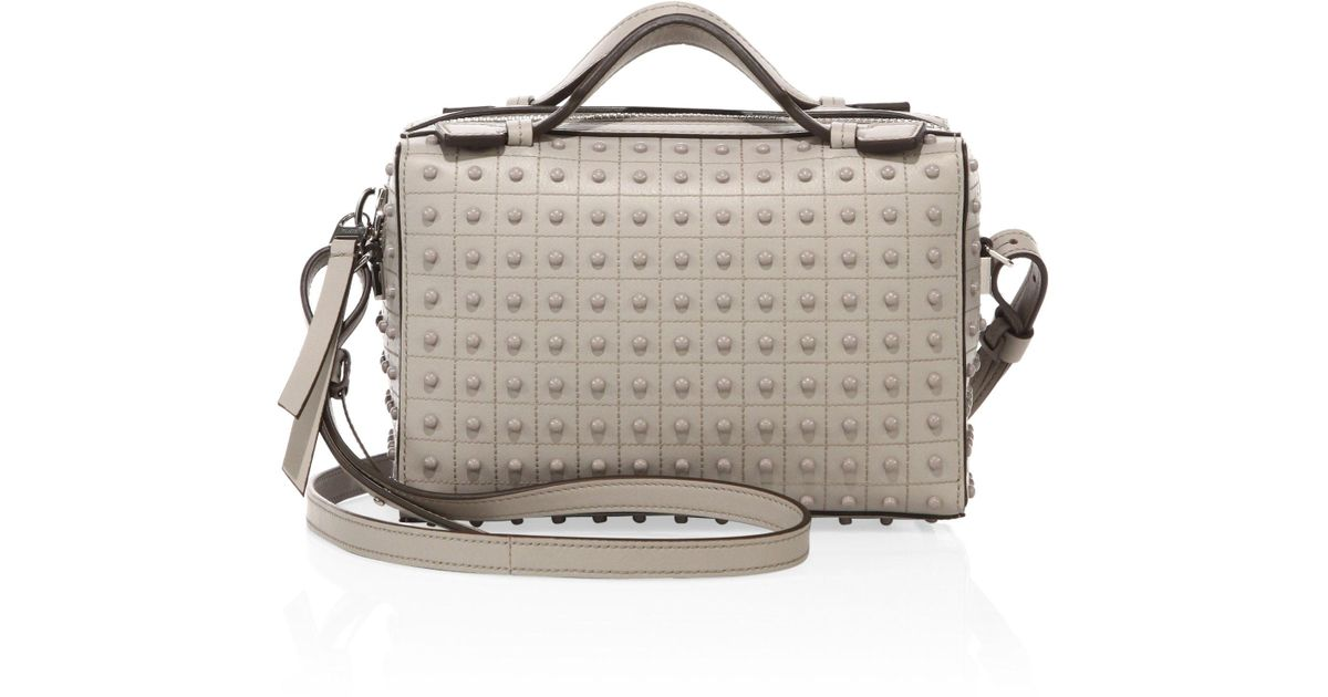 be59d141153e Lyst - Tod s Diodon Mini Studded Leather Satchel in Gray