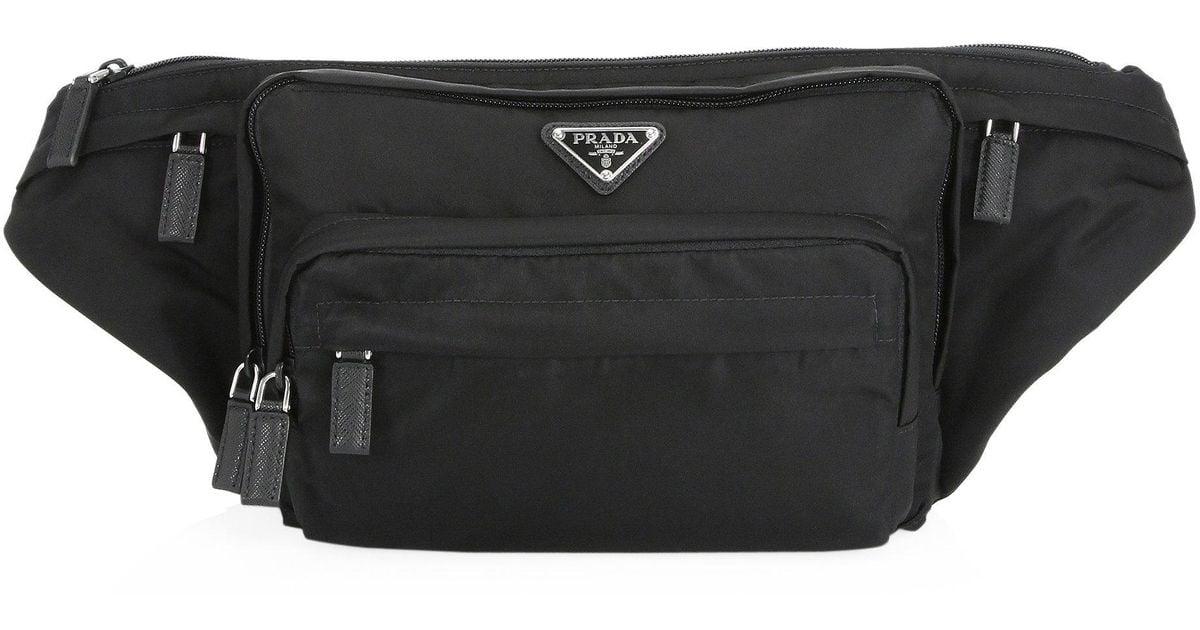 64fc1a195270 Prada Nylon Waist Bag in Black for Men - Lyst