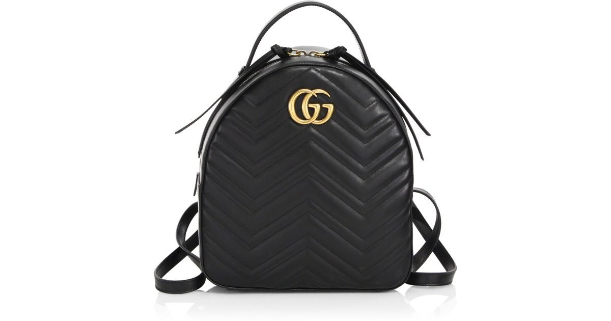 Lyst - Gucci GG Marmont Chevron Quilted Leather Mini Backpack in Black 63bbd7fd298d5