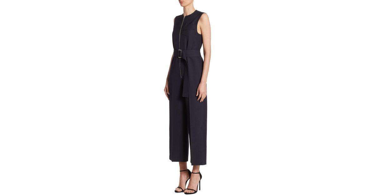 Lyst Victoria Beckham Belted Cropped Jumpsuit In Blue