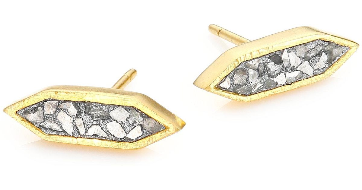 Lyst Shana Gulati Charushila Sliced Raw Diamond Stud Earrings In Metallic